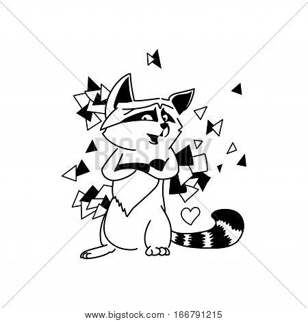 Vector illustration of cartoon funny raccoon. Black and white coloring page book racoon