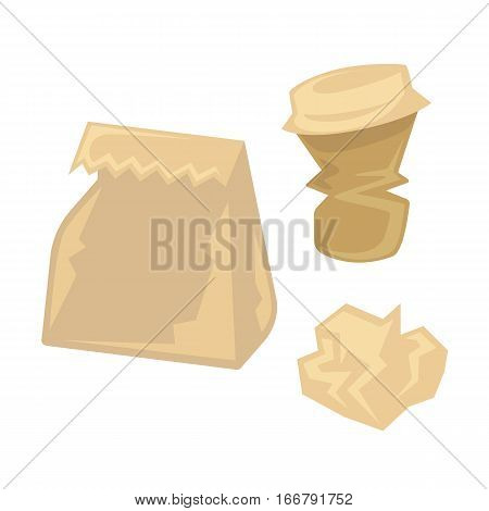 Crumpled paper garbage. Recycle trash concept illustration. Waste recycling and environmental protection. Vector illustration isolated on white background.