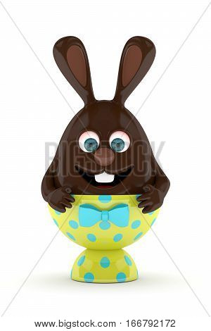 3D Rendering Of Easter Chocolate Bunny Egg In Egg Holder