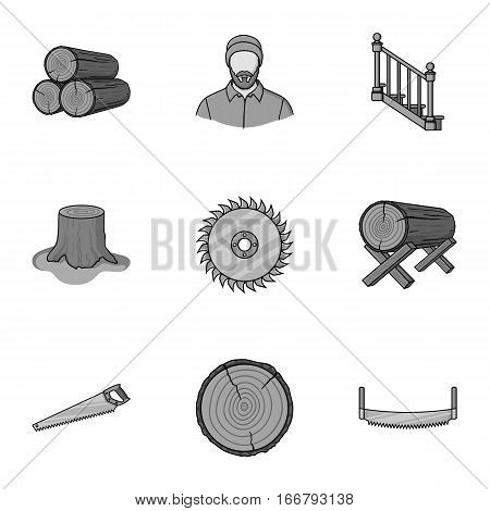 Sawmil and timber set icons in monochrome style. Big collection of sawmill and timber vector symbol stock