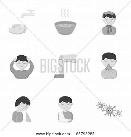 Sick set icons in monochrome style. Big collection io sick vector symbol stock