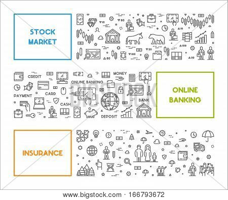 Vector line web concept for stock market online banking and insurance. Horizontal linear banner for landing page.