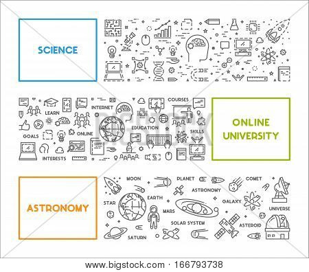 Vector line concept for science online university and astronomy. Horizontal linear web banner. Open path.