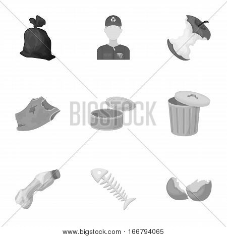 Trash and garbage set icons in monochrome design. Big collection of trash and garbage vector symbol stock illustration