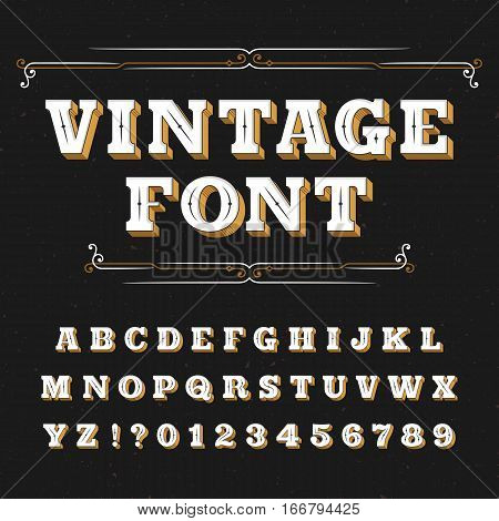 Vintage alphabet font. Ornate letters for labels, headlines, posters on a distressed background. Stock vector typeface for your design.