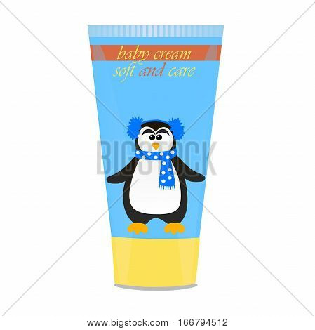 High quality original trendy vector Baby cream tube with kids design and pinguin illustration