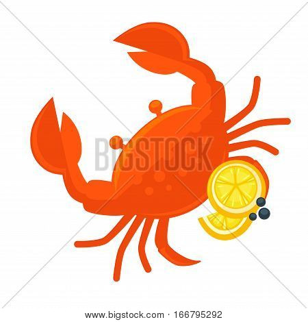 Crab with lemon vector illustration. Fresh seafood icon. Crustacean with claw - ocean or sea food, sign for restaurant menu. Design element in cartoon style, isolated on white background