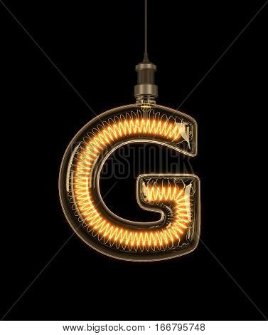 Alphabet G made of light bulb. 3D illustration