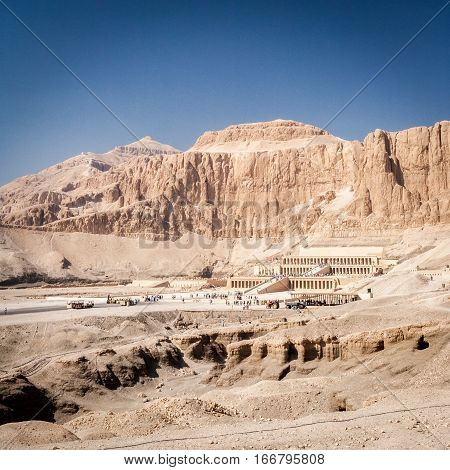 The Mortuary Temple of Queen Hatshepsut on the west bank of the Nile near to the Valley of the Kings.