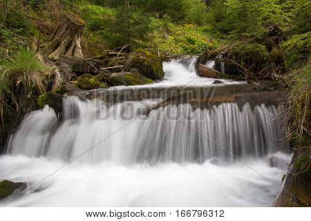 waterfall girlish tears in the Carpation mountains