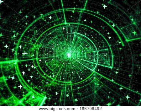 Technology or space theme background - abstract computer-generated image. Fractal geometry: tech style disc with glowihg rays and stars. For web design, covers, posters.