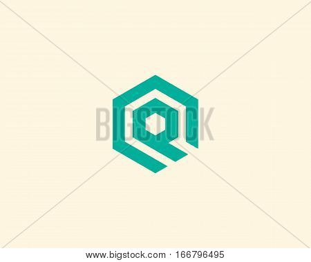 Abstract letter Q vector logotype. Line hexagon creative simple logo design template. Universal geometric symbol font icon