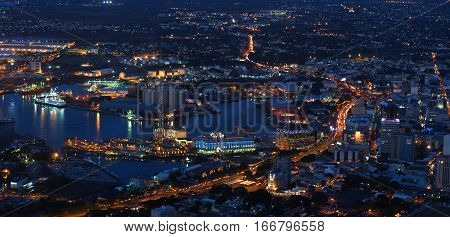 True panoramic view of Port-Louis, capital city of Mauritius at night during the porlwibylight event