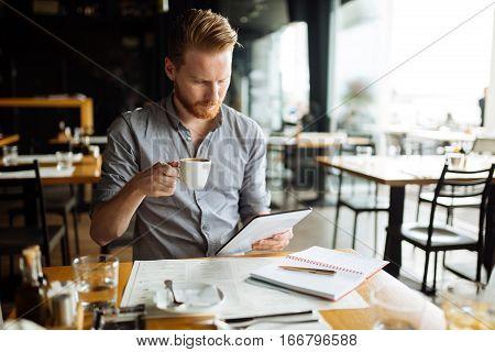Bsuinessperson Multitasking Even During Break