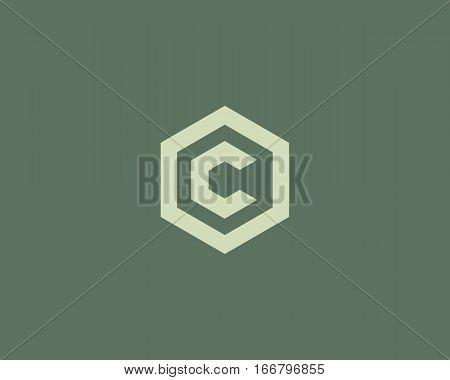 Abstract letter C vector logotype. Line hexagon creative simple logo design template. Universal geometric symbol font icon