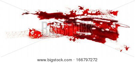 Bloodstain isolated on white background. Bloody strokes