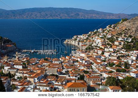 Top view on the yacht Marina of the Hydra island, Aegean sea, Greece.