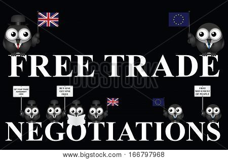 United Kingdom government free trade negotiations after exiting the European Union following the June 2016 referendum isolated on black background