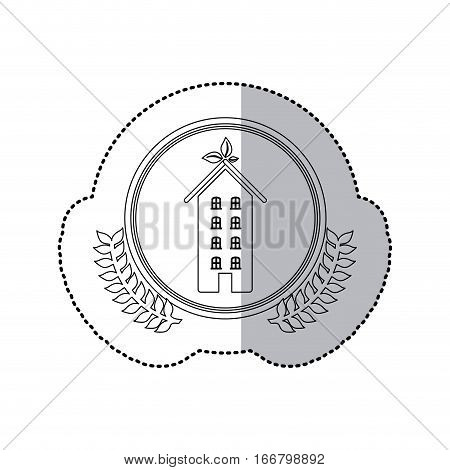 sticker monochrome half shadow and apartment with several floors in round frame with crown of leaves vector illustration