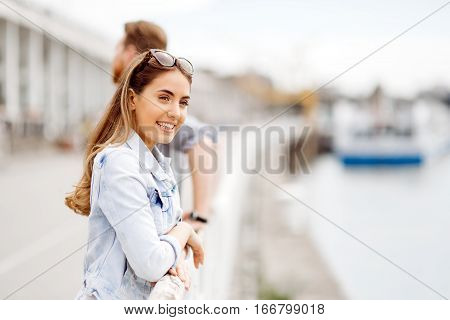Beautiful Woman Waiting For His Approach
