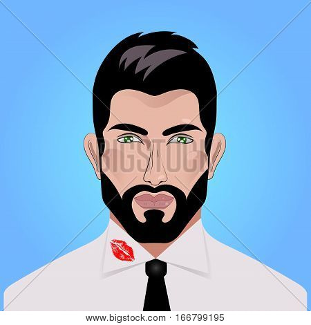Handsome man businessman in white shirt and tie with imprint of lipstick on collar. Adultery. Vector illustration.