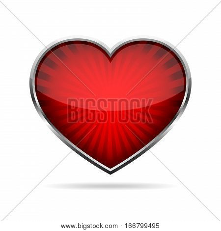 Abstract red heart button. Steel heart button on white background. Concept of the lowe. Vector illustration