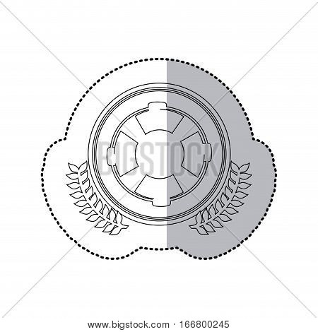 sticker monochrome with half shadow and flotation hoop in round frame with crown of leaves vector illustration