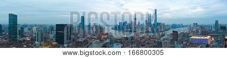 Aerial photography bird view at Shanghai bund Skyline of panorama of twilight