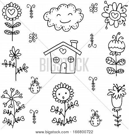 Vector art of spring doodles collection stock