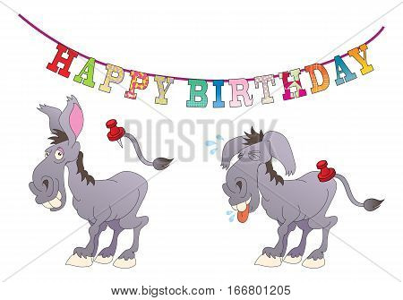 illustration cartoon a playing pin donkey tail in isolated white