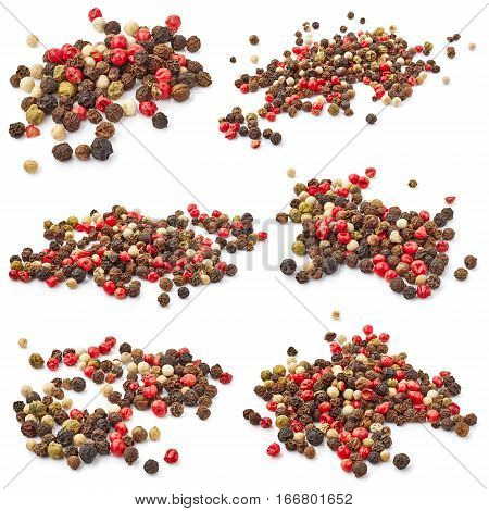 Set of pepper mix isolated on white background
