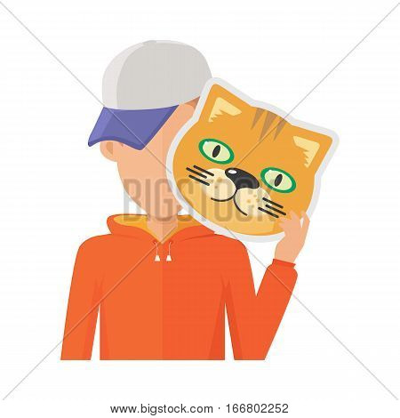 Boy character in sweatshirt and cap with cat mask in hand vector. Flat design. Masquerade animal clothing and party costume. Psychological portrait and hidden personality. Isolated on white background