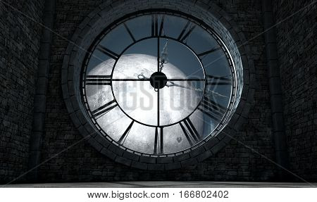 Antique Backlit Clock And Moon