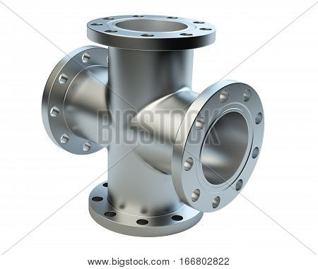 Steel flanged tube for connection industrial equipment. 3d illustration isolated on a white background.