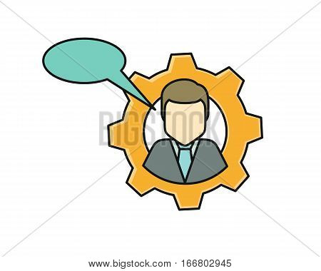 Young man private icon with dialog window. Young man in shirt and tie. Avatar in gear. Social networks business private users avatar pictogram. Round line icon. Isolated vector illustration