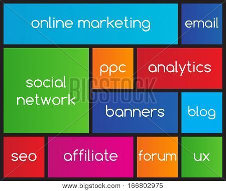 Online marketing flat icons with metro style
