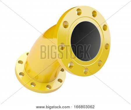 Yellow flanged tube for connection industrial equipment. 3d illustration isolated on a white background.