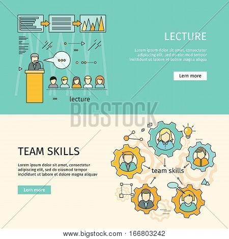 Team skills and business lecture banner. Business education, team building, workshop, training skill, develop ability, expertise, business people teamwork, personal development growth. Vector line art