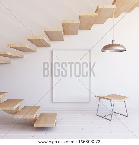 Interior mockup illustration with wooden staircase, 3d render, white wall with blank board
