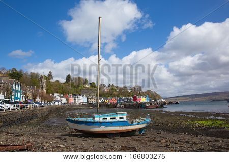Tobermory west coast of Scotland on Isle of Mull Scottish Inner Hebrides with sailing boat and harbour