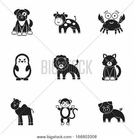 Animals set icons in black style. Big collection of animals vector symbol stock