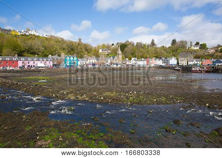 Tobermory Isle of Mull Scotland uk small town in Scottish Inner Hebrides on a beautiful spring day with sunshine
