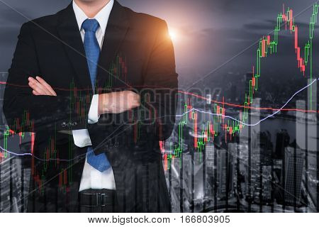 Candlestick chart patterns uptrend Stock Market on Shanghai cityscape at night background