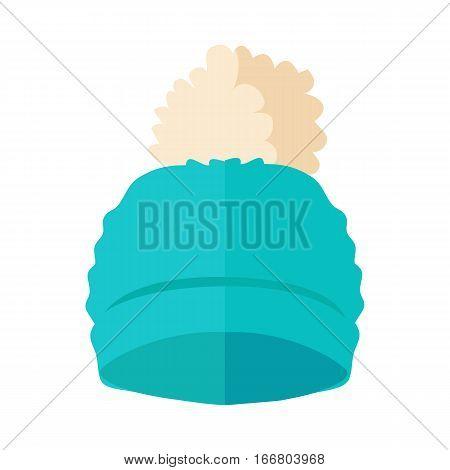 Warm blue hat with pompon vector. Flat design.