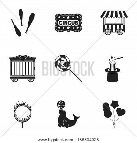 Circus set icons in black style. Big collection of circus vector symbol stock