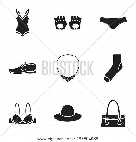 Clothes set icons in black style. Big collection of clothes vector symbol stock
