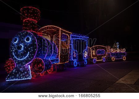 Colorful illuminations at night prepared for Christmas time