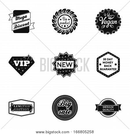 Label set icons in black style. Big collection of label vector symbol stock