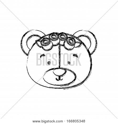 monochrome contour blurr with face of bride bear vector illustration