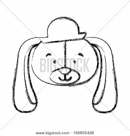 monochrome contour blurr with face of groom dog vector illustration
